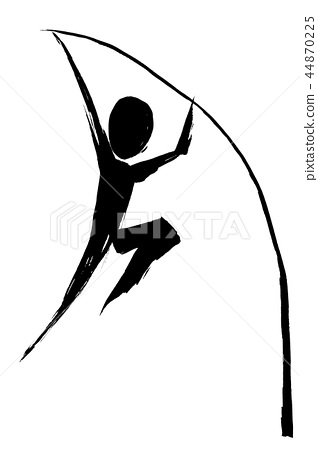 Brush painting silhouette of pole high jump 44870225