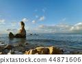 파란 하늘과 뭉게 구름, 푸른 바다, 바위 44871606