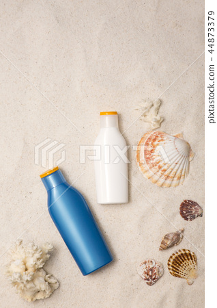 Summer holiday concept photo. vacation items and beach accessories in swimming pool or yellow background. 087 44873379