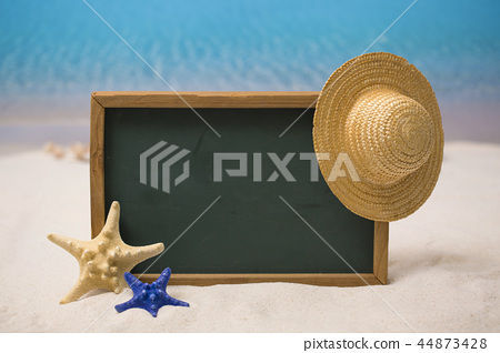 Summer holiday concept photo. vacation items and beach accessories in swimming pool or yellow background. 094 44873428