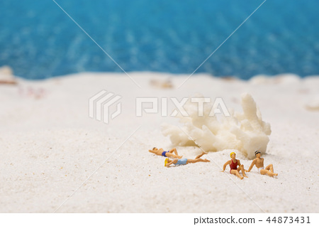 Summer holiday concept photo. vacation items and beach accessories in swimming pool or yellow background. 111 44873431
