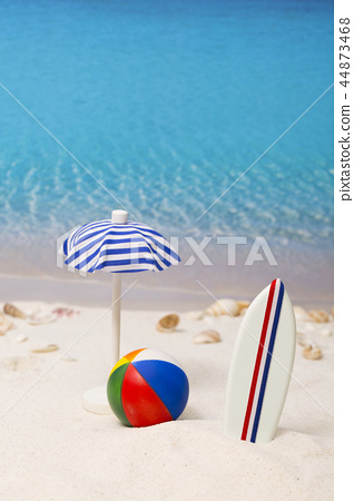 Summer holiday concept photo. vacation items and beach accessories in swimming pool or yellow background. 106 44873468