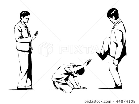 Vector - illustration of different domestic violence situations in this society. Hand drawn black on white background. 006 44874108