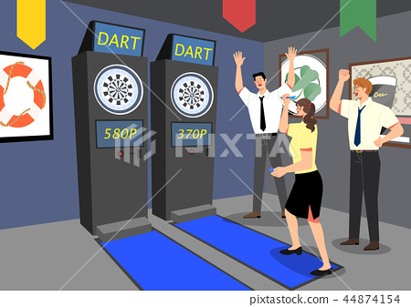 Vector - having fun together after work. playing game with office colleagues or friends. vector illustration. 005 44874154