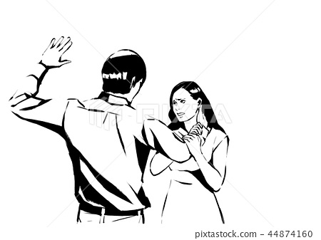Vector - illustration of different domestic violence situations in this society. Hand drawn black on white background. 003 44874160