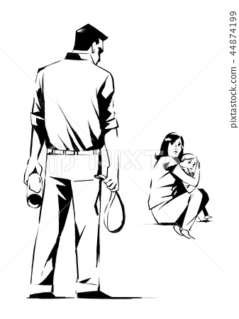 Vector - illustration of different domestic violence situations in this society. Hand drawn black on white background. 001 44874199