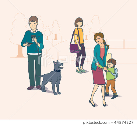 Vector - Public places are for everyone, please be gentle. manners in public places illustration. 006 44874227