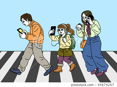 Vector - Smartphone addiction concept vector illustration. many people are always using it, and lack of communication. 006 44874267