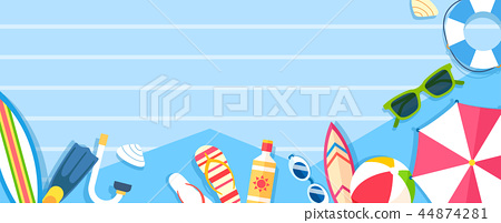 Vector - Flat style frame design with shopping object on stripes. layout with copyspace illustration. 007 44874281