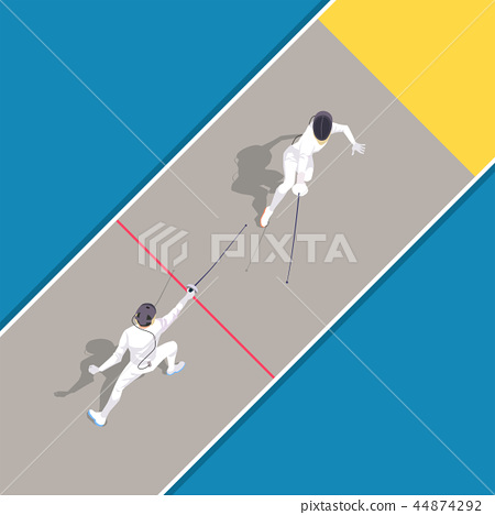 Vector - Aerial view of sport games in flat design style illustration 018 44874292