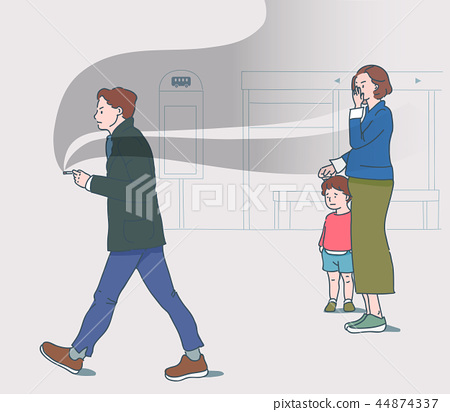 Vector - Public places are for everyone, please be gentle. manners in public places illustration. 001 44874337
