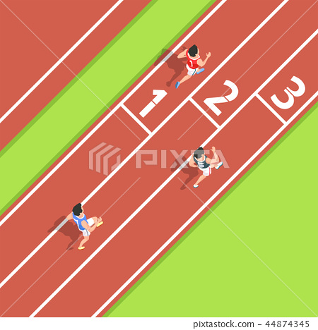 Vector - Aerial view of sport games in flat design style illustration 002 44874345