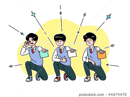 School life cartoon. Teenagers, middle and high school students vector illustration 008 44874470