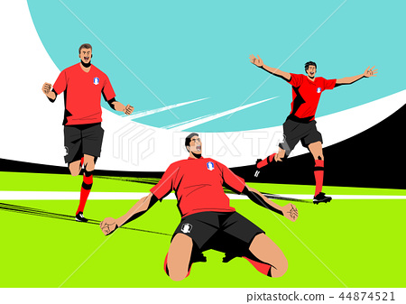 Various sports players with dynamic colorful scratched vector illustration 003 44874521