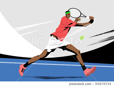 Various sports players with dynamic colorful scratched vector illustration 024 44874534