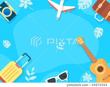 Summer holiday background with beach and forest landscape vector illustration 018 44874564