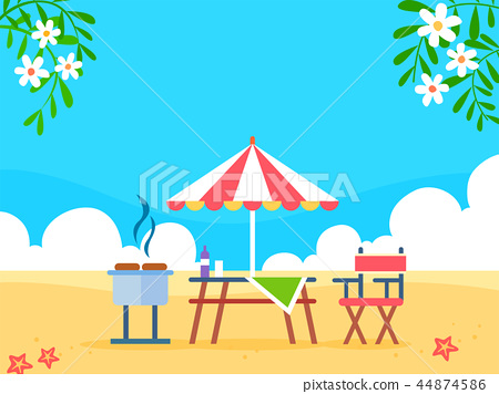 Summer holiday background with beach and forest landscape vector illustration 014 44874586