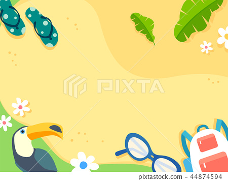 Summer holiday background with beach and forest landscape vector illustration 032 44874594