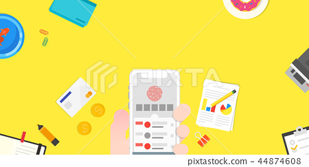Vector - Mobile devices, services concepts with tools an objects on top view illustration 011 44874608