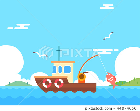 Summer holiday background with beach and forest landscape vector illustration 011 44874650