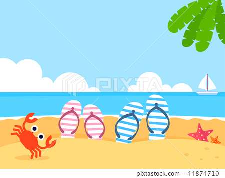 Summer holiday background with beach and forest landscape vector illustration 004 44874710