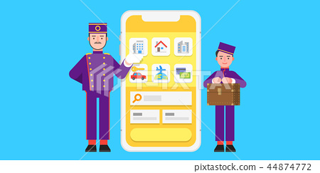 Searching and Booking, Holidays and Traveling app concept vector illustration in flat style. 002 44874772