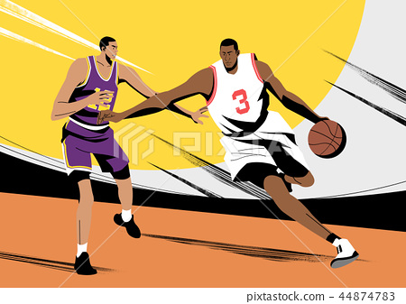 Various sports players with dynamic colorful scratched vector illustration 009 44874783