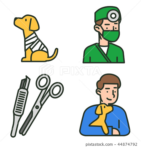 Flat veterinary icons set. use for web and mobile UI, set of basic veterinary elements isolated vector illustration 005 44874792