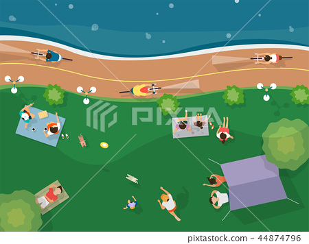 Top view of summer vacation illustration. Design for seasonal holidays, vacations, resorts, summer related subjects. 008 44874796