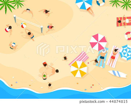 Top view of summer vacation illustration. Design for seasonal holidays, vacations, resorts, summer related subjects. 002 44874815