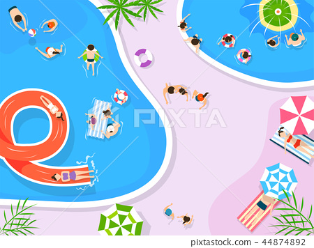 Top view of summer vacation illustration. Design for seasonal holidays, vacations, resorts, summer related subjects. 005 44874892