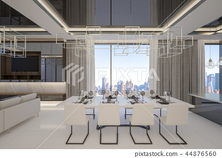 Modern dining room with cityscape , 3d rendering 44876560