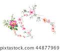 ดอกไม้,ใบไม้,สีน้ำ 44877969