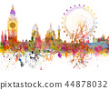 London skyline in grunge style in watercolor blots 44878032