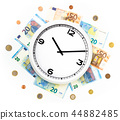 Clock surrounded by bills and euro coins 44882485