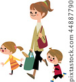 Returning mother and child from shopping 44887790