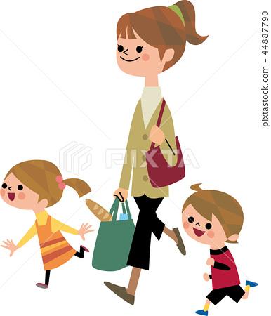 从购物回来的母亲和孩子 44887790