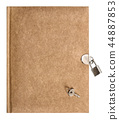 Book lock key isolated white background Recycled  44887853