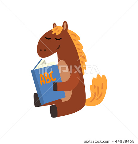 Cute horse animal cartoon character reading a book, school