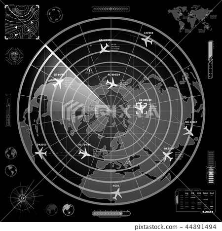 Military radar display with with planes traces 44891494