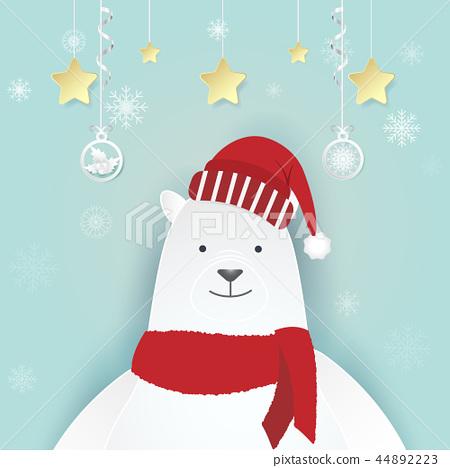 Polar bear and snowflake with christmas decoration 44892223