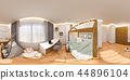 Virtual reality, 360 degrees seamless panorama. Children's playroom and bedroom in the Scandinavian 44896104