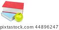 Books and apple isolated on white background.  44896247