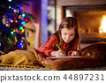 christmas, fireplace, girl 44897231