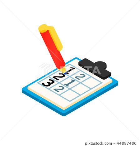Golf scorecard with pan isometric 3d icon 44897480