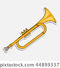 Horn - music wind instrument. Musical equipment. Sticker isolated on white background. Vector 44899337