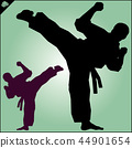 Martial arts. Karate fighter silhouette scene. 44901654