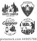 Happy camper. Vector illustration. Concept for shirt or logo, print, stamp or tee. 44905788