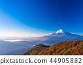 (야마나시 현) 단풍이 든 셋 峠山에서 원하는, 관설 한 후지산 44905882