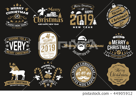 Set of Merry Christmas and Happy New Year stamp, sticker set with snowflakes, hanging christmas ball 44905912